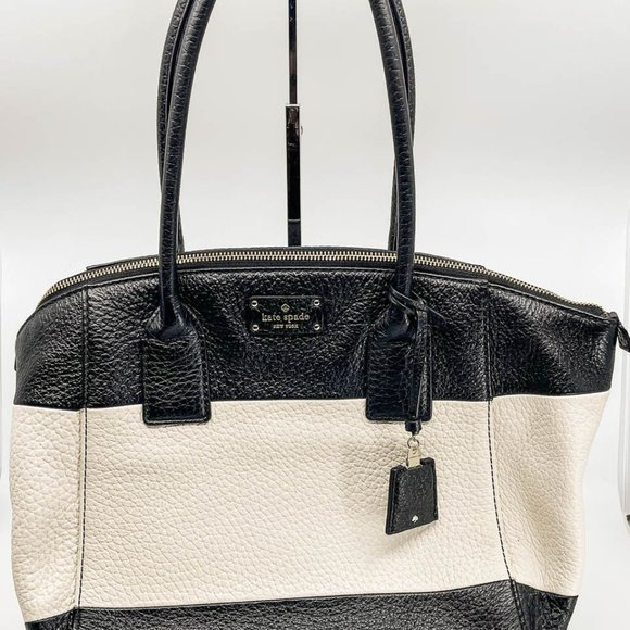 Kate Spade Black and White Leather Satchel